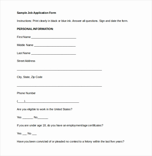 Job Application Template Doc Beautiful Job Application Template 19 Examples In Pdf Word