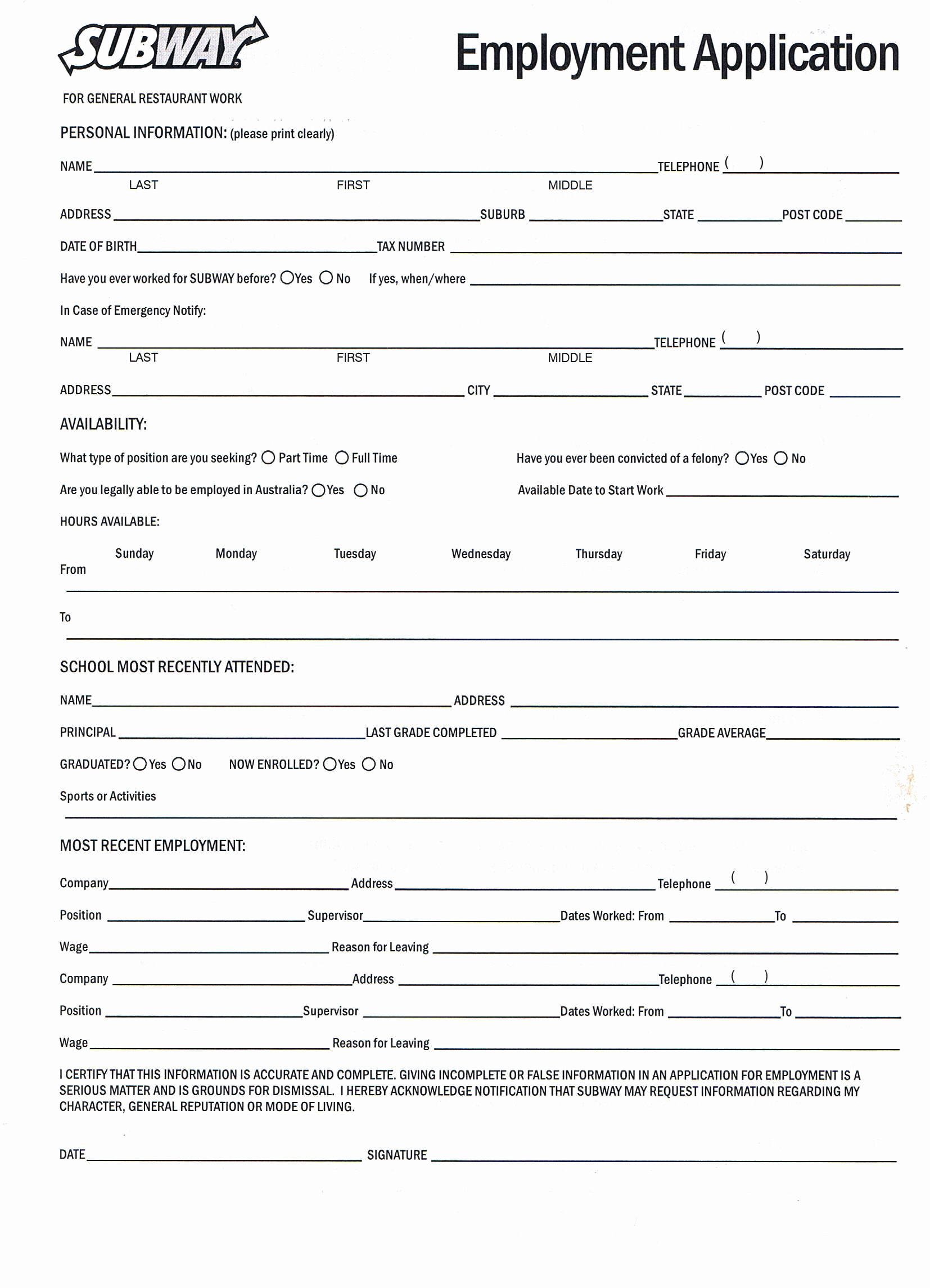 Job Application Template Doc Fresh Printable Job Application forms Online forms Download and