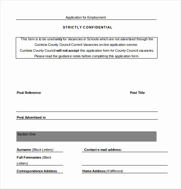 Job Application Template Doc New Employment Application Templates – 10 Free Word Pdf