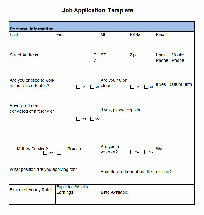 Job Application Template Word Best Of 18 Job Application form Template Free Word Pdf Excel
