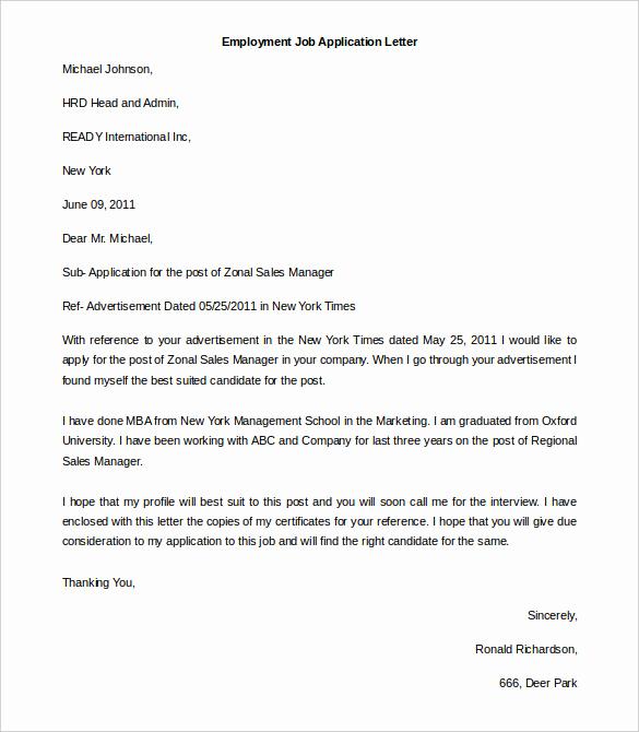 Job Application Template Word Elegant 11 Free Employment Letter Template Doc Pdf