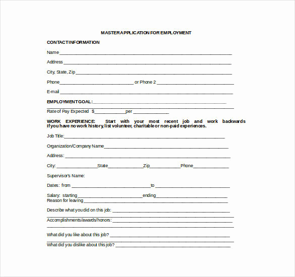 Job Application Template Word Elegant 21 Employment Application Templates Pdf Doc