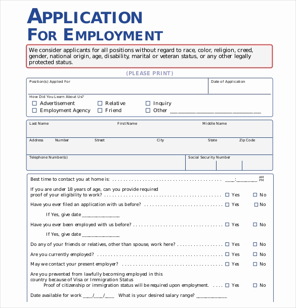 Job Application Template Word New 15 Employment Application Templates – Free Sample