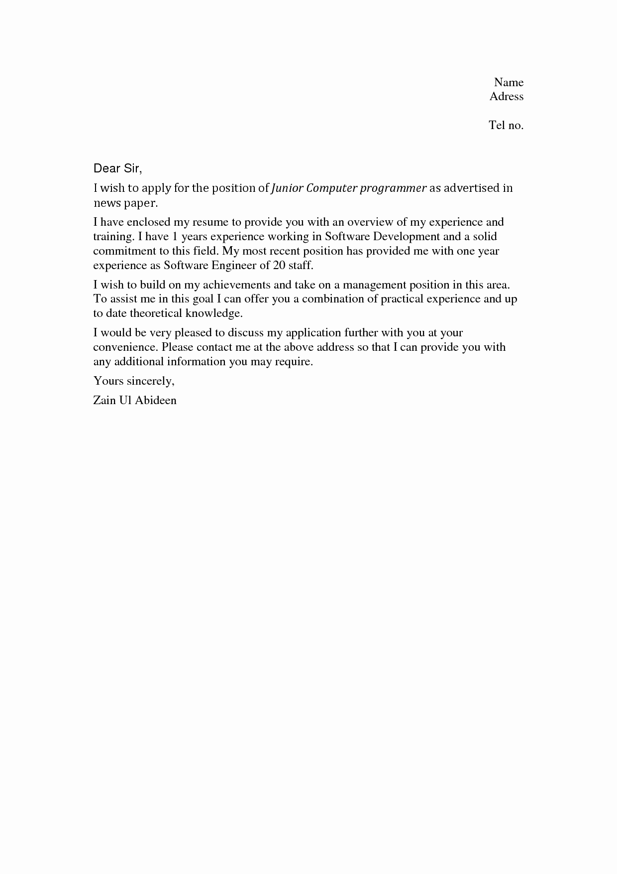 Job Cover Letter Sample Awesome Cover Letter Sample No Work Experience Cover Letter