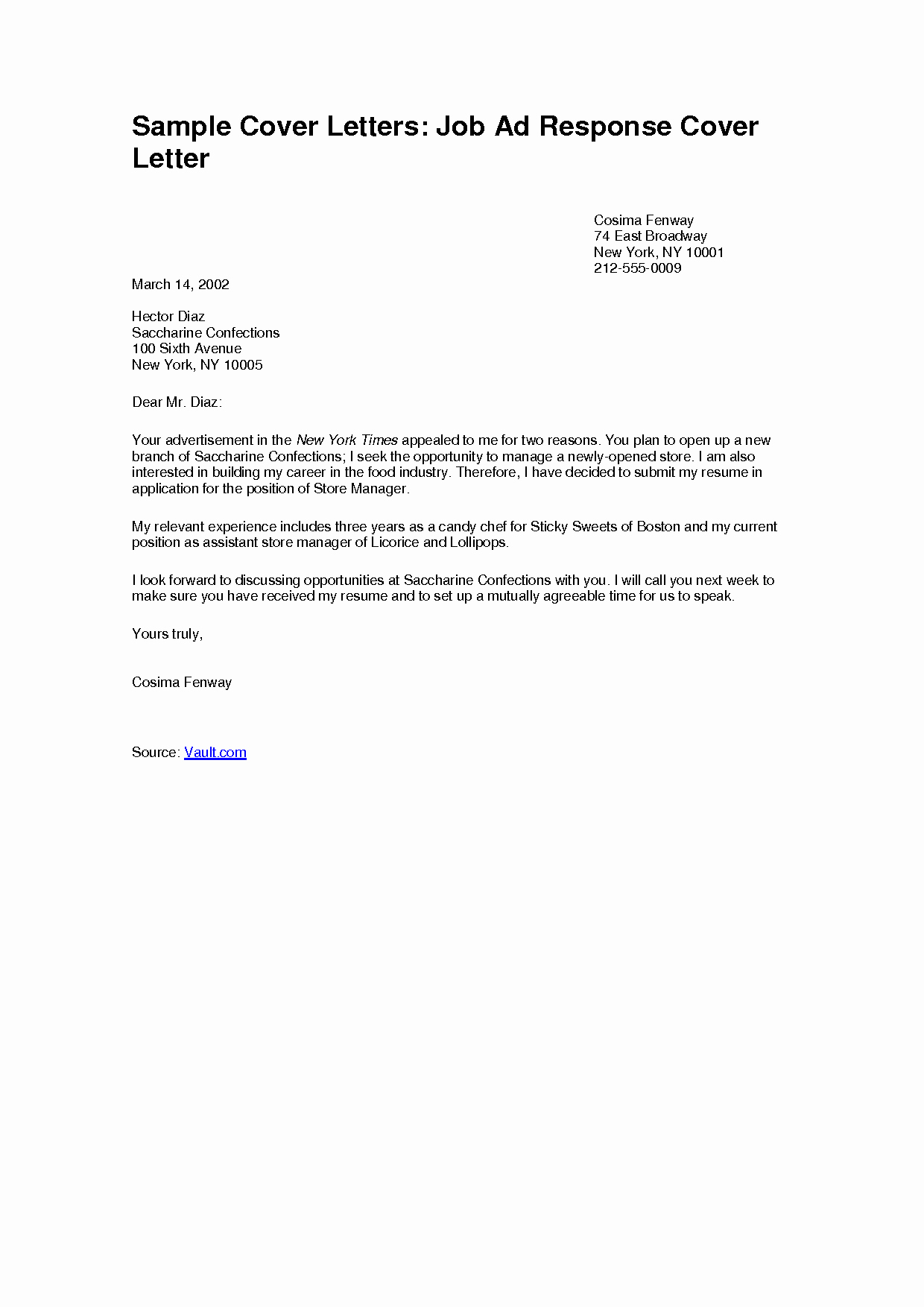 Job Cover Letter Sample Awesome Simple Job Application Cover Letter Examples