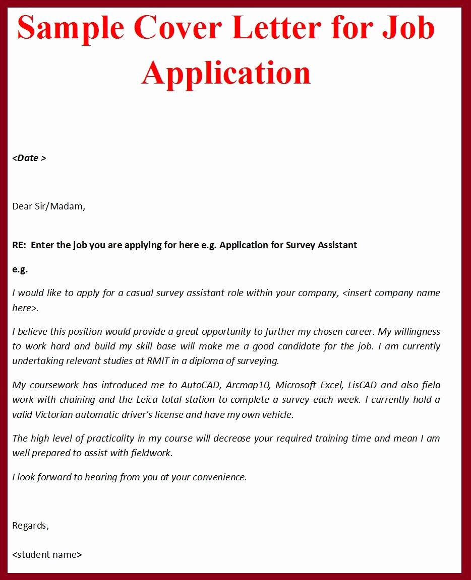 Job Cover Letter Sample New Sample Cover Letter format for Job Application