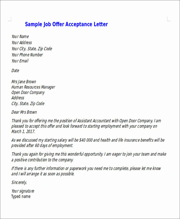Job Offer Acceptance Letter Reply Awesome 14 Job Acceptance Letters