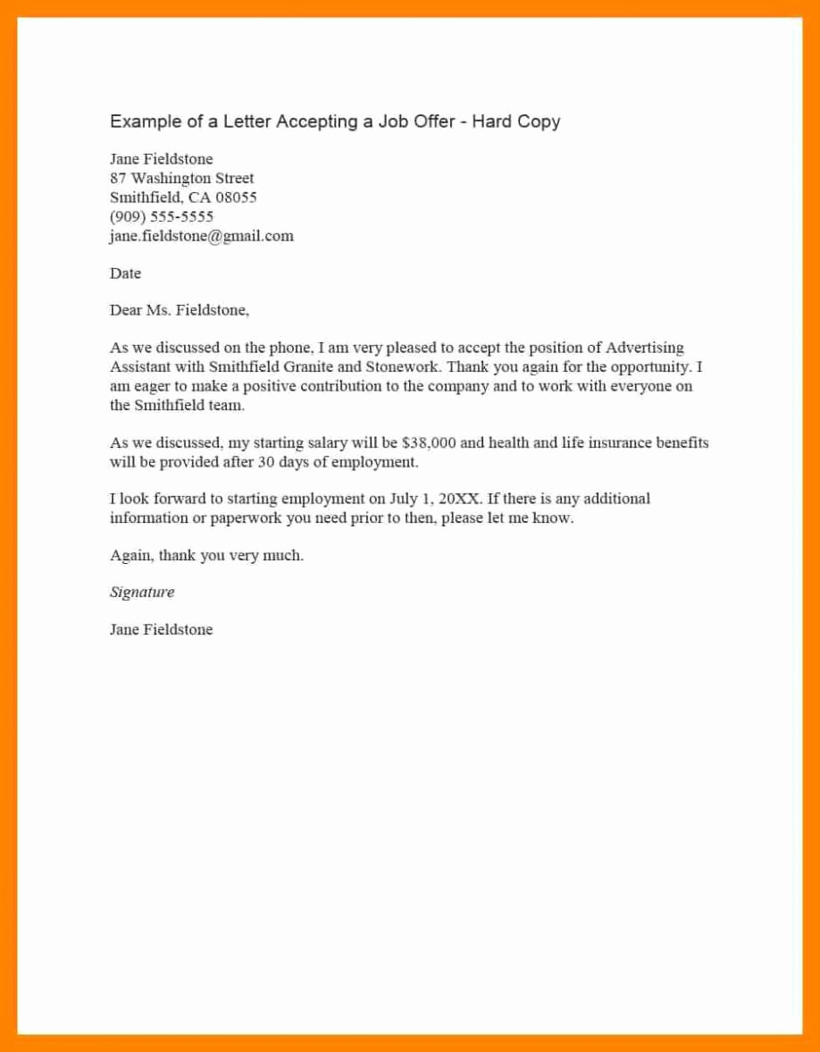 Job Offer Acceptance Letter Reply Awesome Employment Fer Email Letter Examples Job Response after
