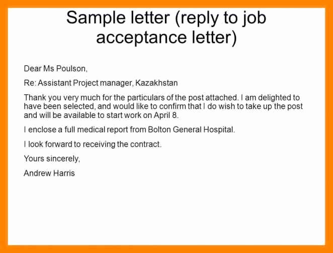 Job Offer Acceptance Letter Reply Elegant 15 Email Reply to Job Offer