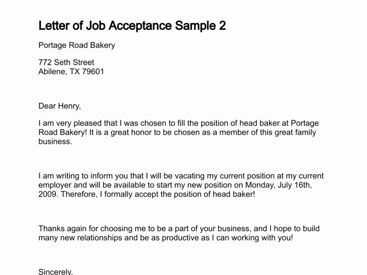 Job Offer Acceptance Letter Reply Fresh Letter Of Job Acceptance