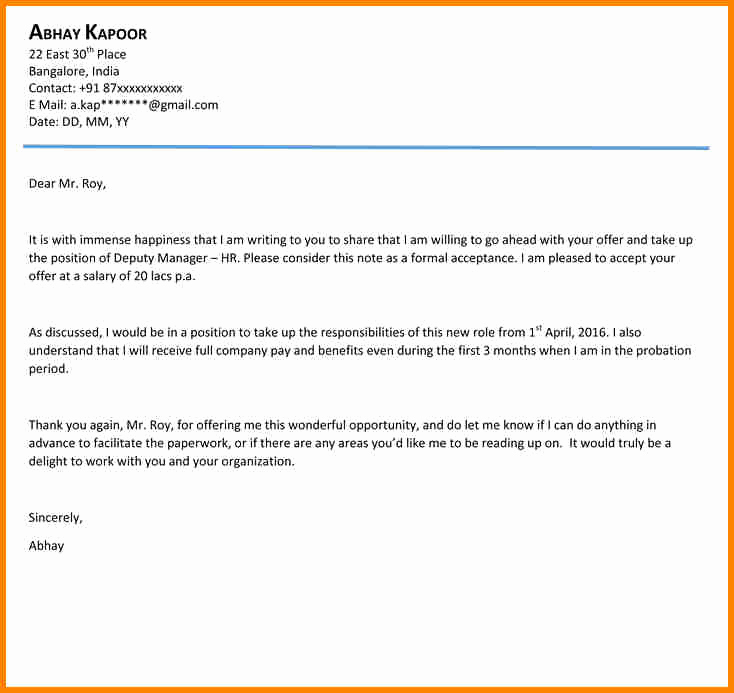 Job Offer Acceptance Letter Reply Inspirational 8 Email Accepting Offer