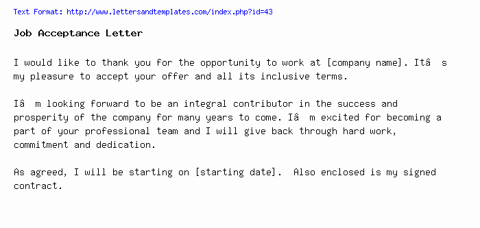 Job Offer Acceptance Letter Reply Lovely Job Acceptance Letter