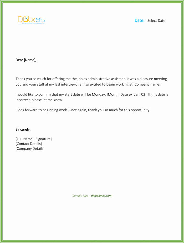 Job Offer Acceptance Letter Reply Lovely Thank You Letter for Job Fer Download Free Samples