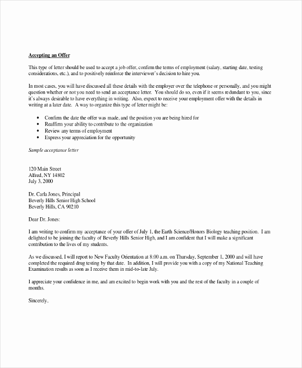 Job Offer Acceptance Letter Reply New 4 Thank You Letter for Job Fer Templates