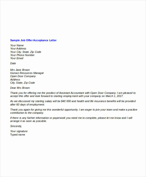 Job Offer Acceptance Letter Reply New Fer Letter Templates In Doc 46 Free Word Pdf