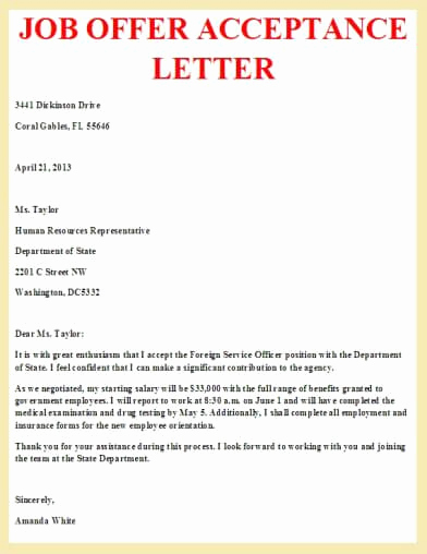 Job Offer Acceptance Letter Reply Unique Job Offer Acceptance Letter Letter Pinterest