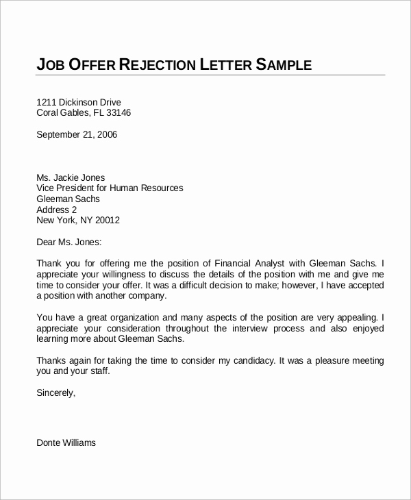 Job Offer Letter Example Awesome Sample Fer Letter 10 Examples In Word Pdf