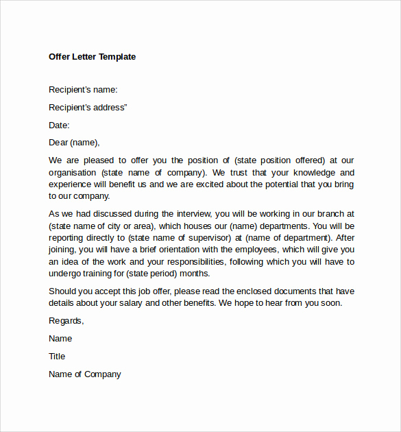 Job Offer Letter Example Beautiful Sample Fer Letter Template 14 Free Examples format