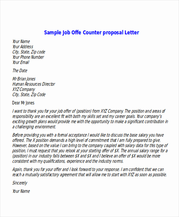 Job Offer Letter Example Beautiful Sample Proposal Fer Letter 6 Examples In Pdf Word