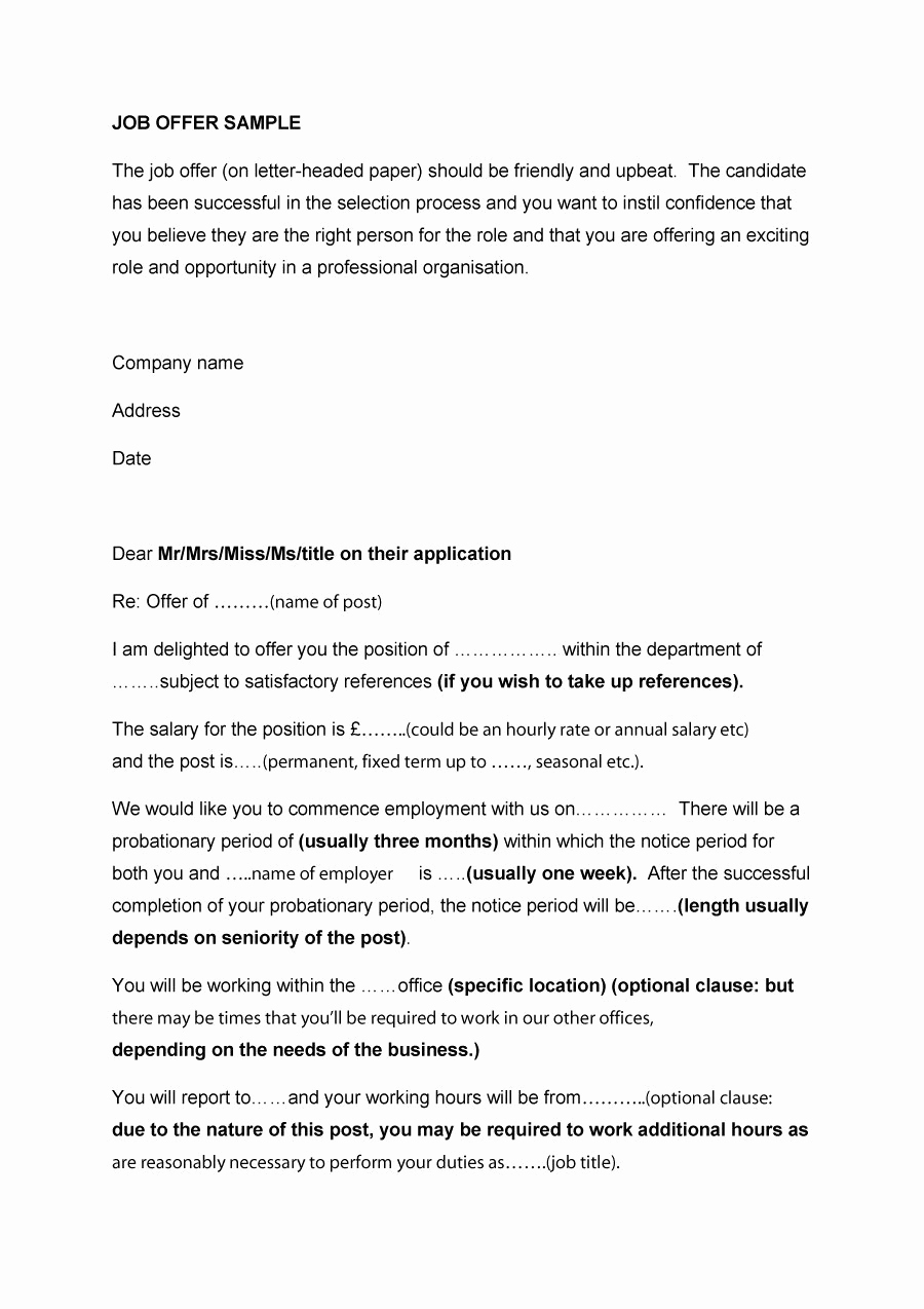 Job Offer Letter Example Best Of 44 Fantastic Fer Letter Templates [employment Counter