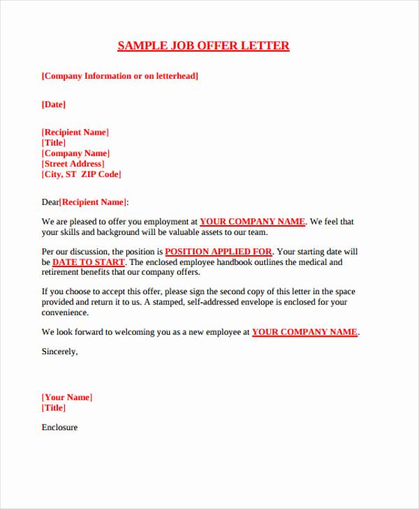 Job Offer Letter Example Elegant 25 Job Fer Letter Example