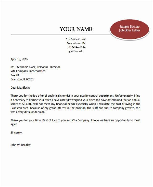 Job Offer Letter Example Elegant 7 Job Fer Thank You Letter Templates Free Samples