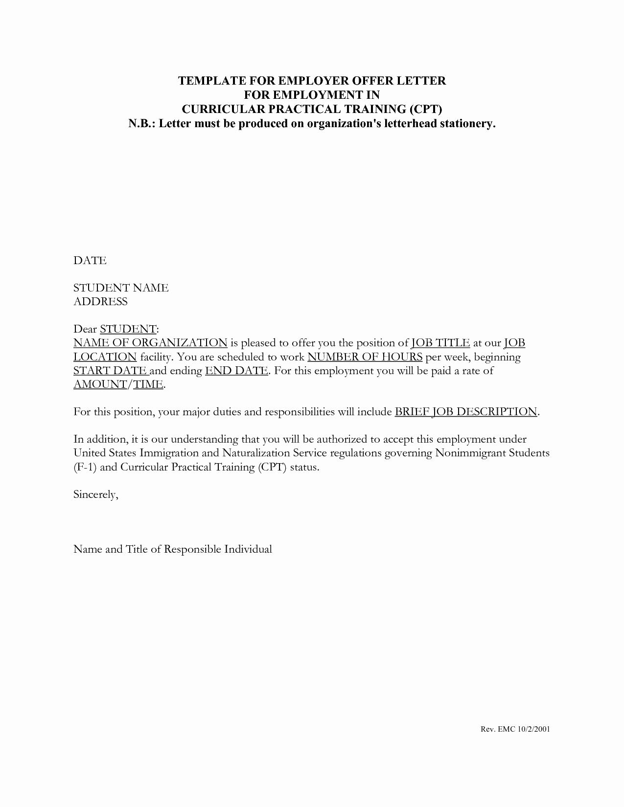Job Offer Letter Example Fresh 8 Example Of Job Offer Letter