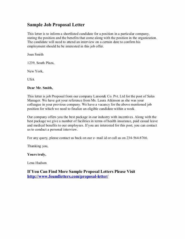Job Offer Letter Example Inspirational Sample Job Proposal Letter