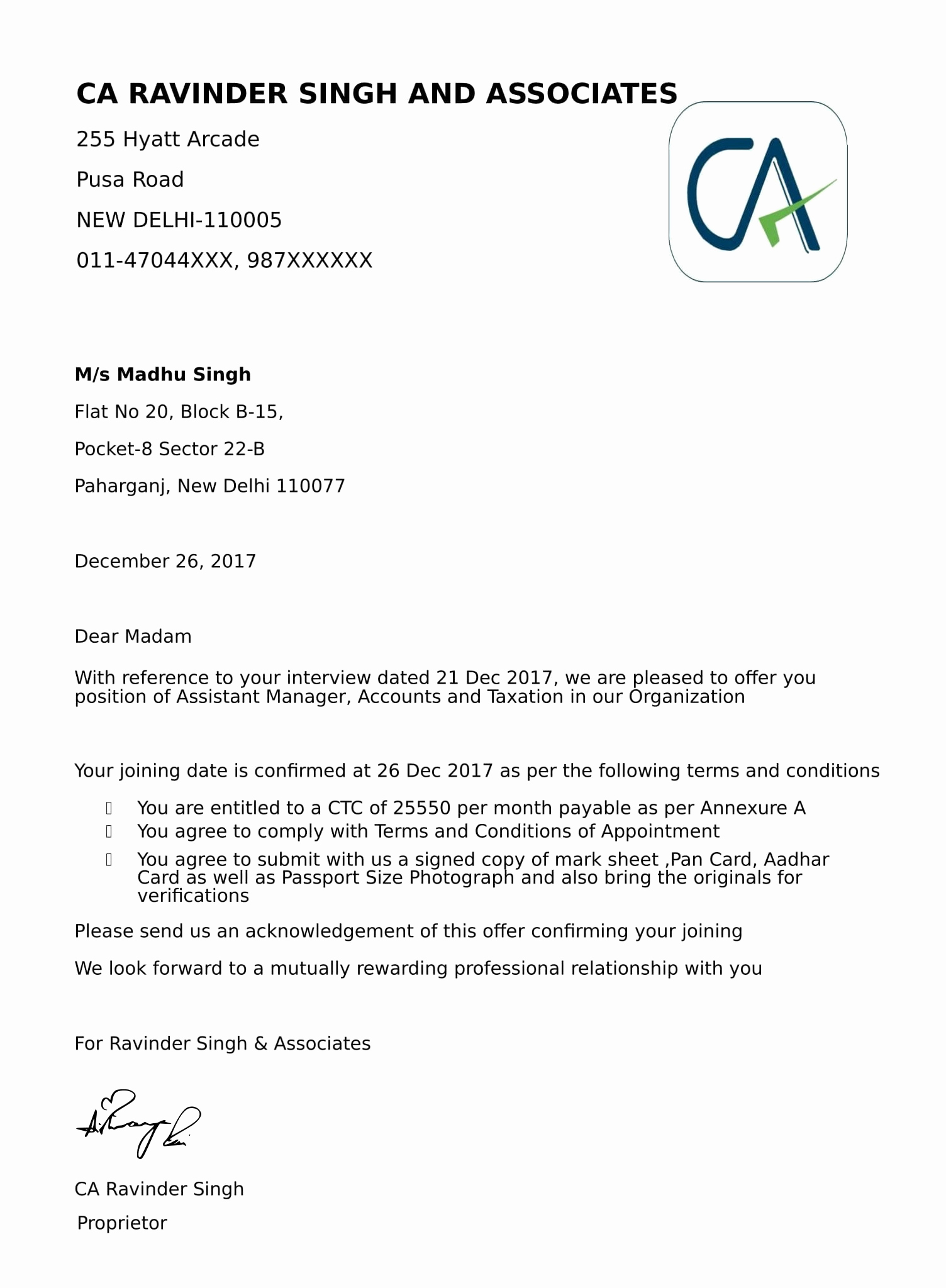 Job Offer Letter Example Unique Fer Letters & Appointment Letter Job and Business