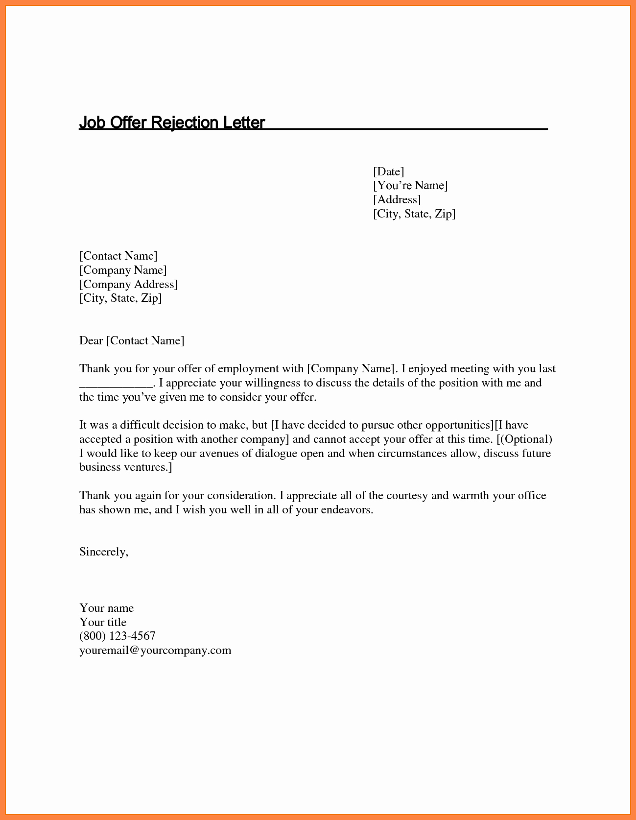 Job Offer Thank You Letter Luxury 5 Job Offer Rejection Letter