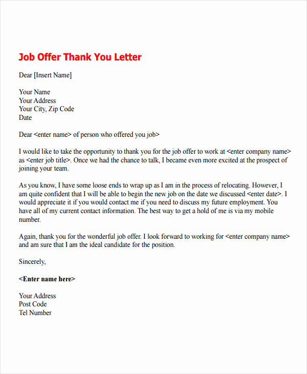 Job Offer Thank You Letter Unique 7 Job Fer Thank You Letter Templates Free Samples