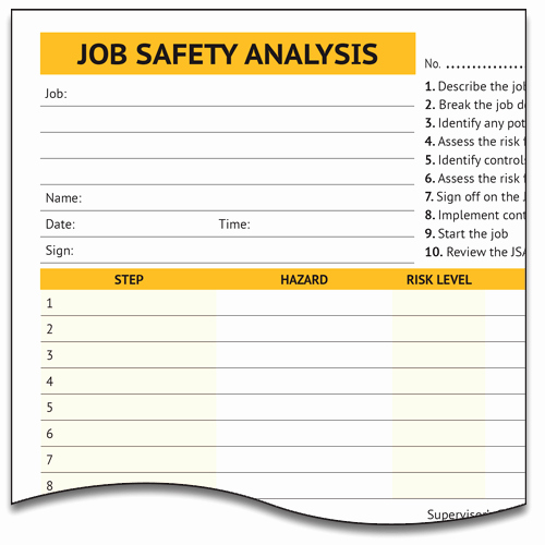 Job Safety Analysis form Beautiful Job Safety Analysis form Lockbox Safety Documentation