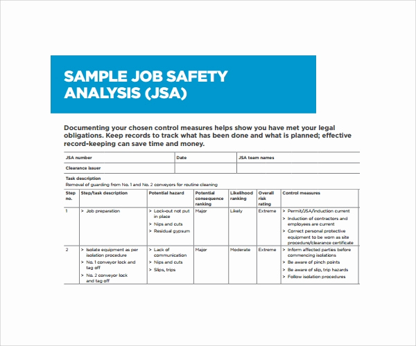 Job Safety Analysis form Beautiful Jsa Review form