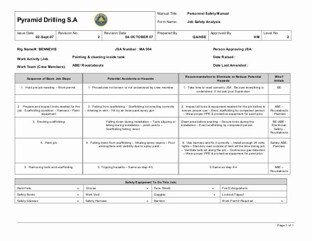 Job Safety Analysis form Elegant Ma 004 Paint Jobs Inside Tanks