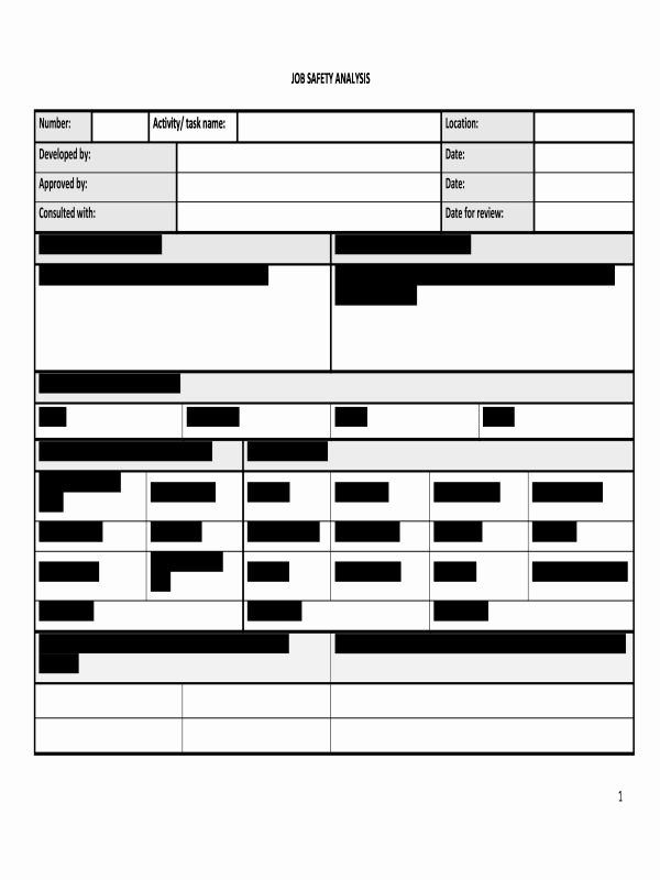 Job Safety Analysis form Fresh Hr Advance