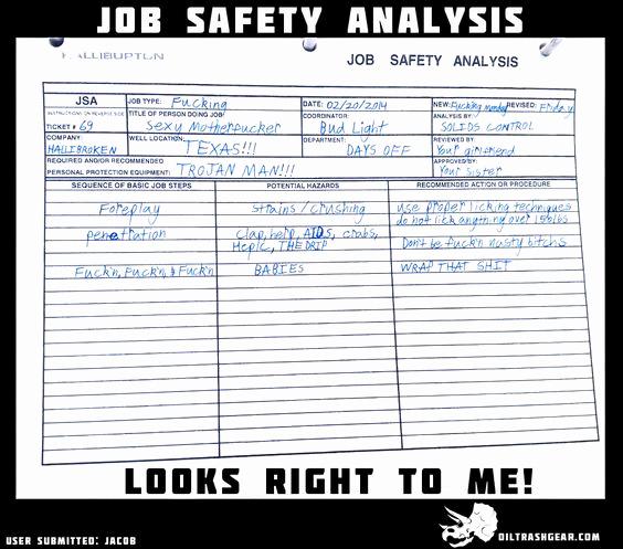 Job Safety Analysis form Fresh Job Safety Analysis Check Oilfield Funny