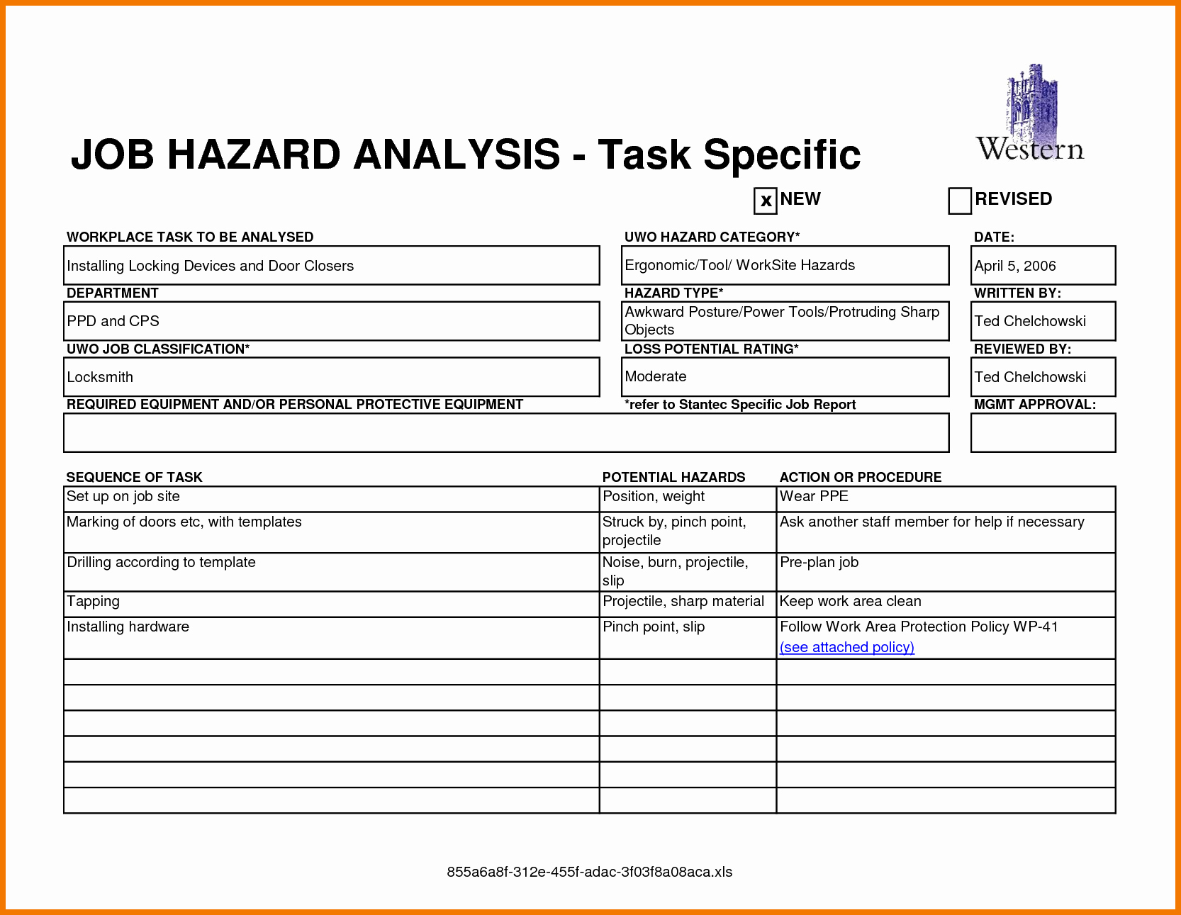 Job Safety Analysis form New Job Safety Analysis form