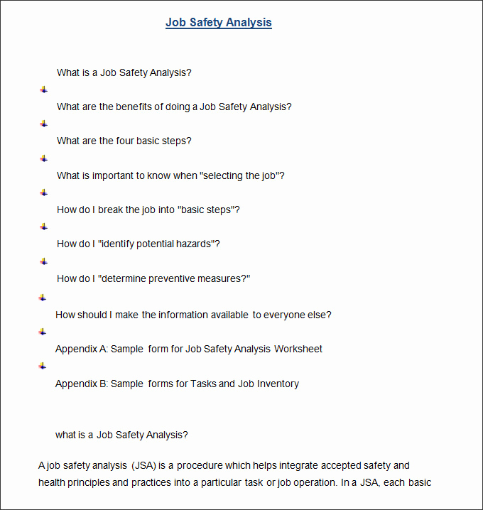 Job Safety Analysis form New Job Safety Analysis Template 6 Free Word Pdf Documents