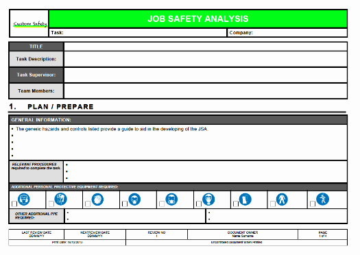 Job Safety Analysis Template Best Of Job Safety Analysis