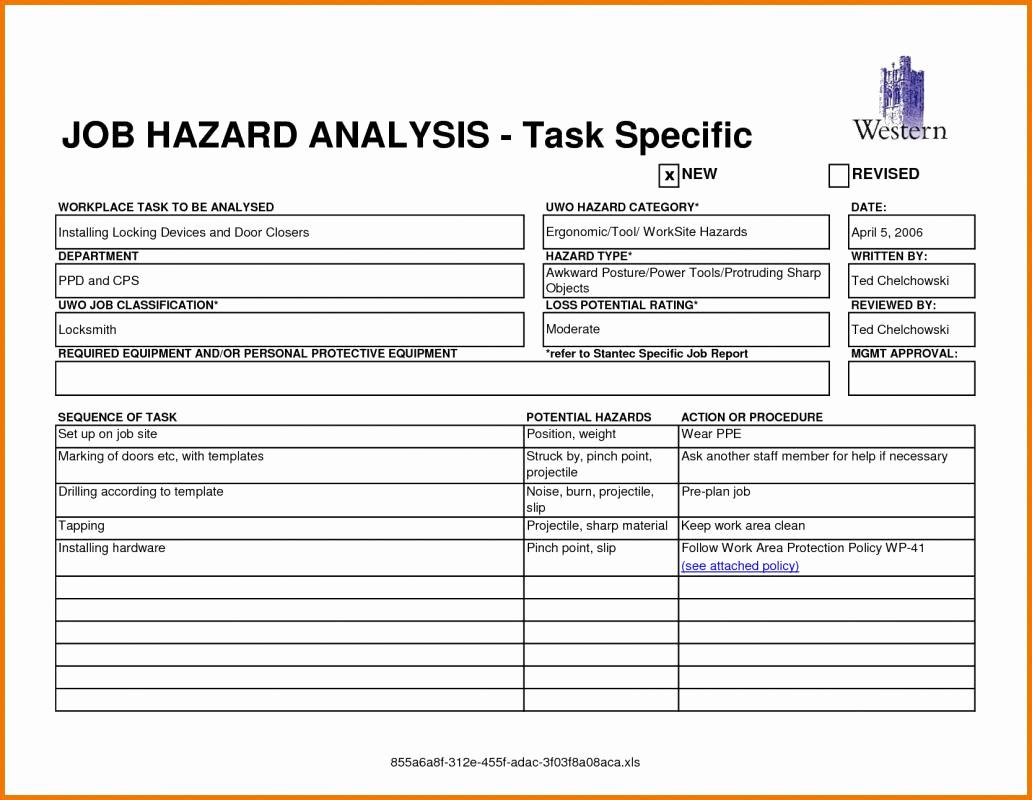 Job Safety Analysis Template Fresh Job Hazard Analysis form