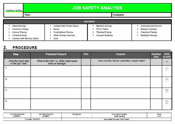 Job Safety Analysis Template Fresh Templates
