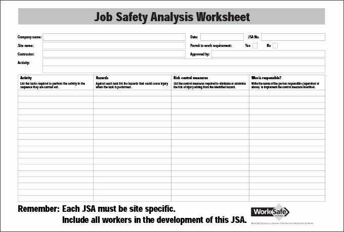 Job Safety Analysis Template Inspirational Job Hazard Analysis Template Beepmunk