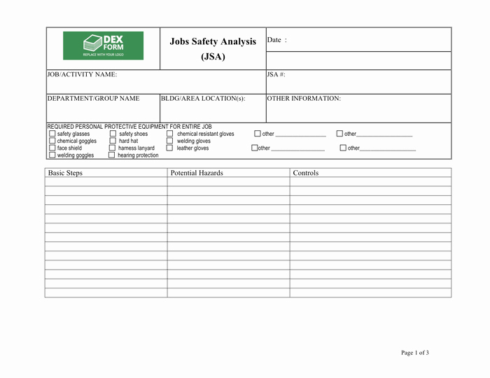 Job Safety Analysis Template Lovely Job Safety Analysis Jsa form In Word and Pdf formats
