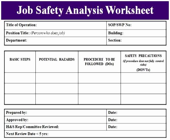 Job Safety Analysis Template Luxury 9 Osha Risk assessment Template Tyrpw