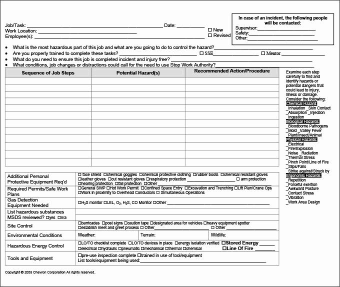 Job Safety Analysis Template New Job Hazard Analysis Template Monpenceco Jha Template