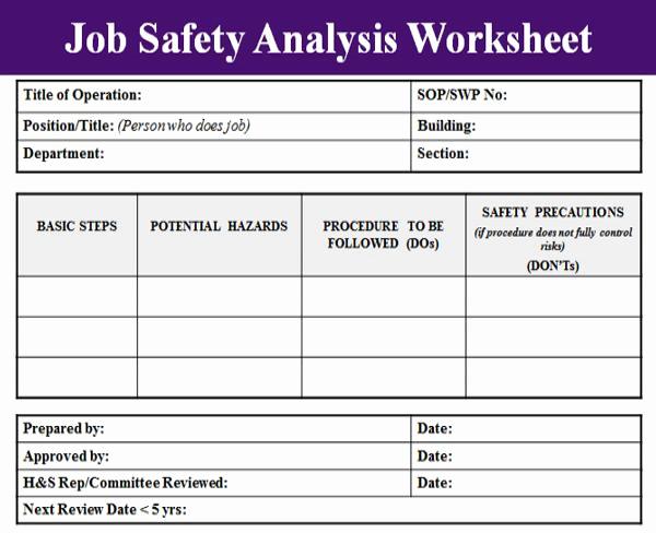 Job Safety Analysis Template New Job Safety Analysis Template Microsoft Excel Templates
