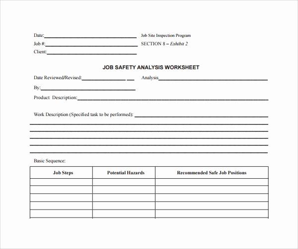 Job Safety Analysis Template Unique Sample Job Safety Analysis Template 6 Free Documents In Pdf