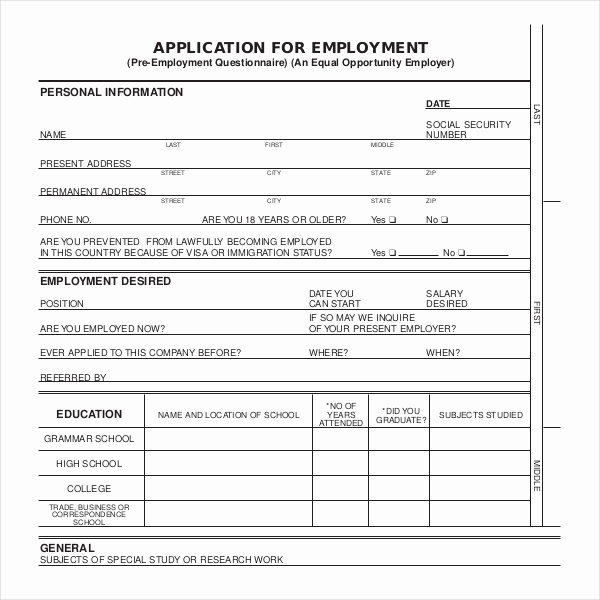 Jobs Application form Pdf Luxury Sample Employment Application forms 12 Free Documents