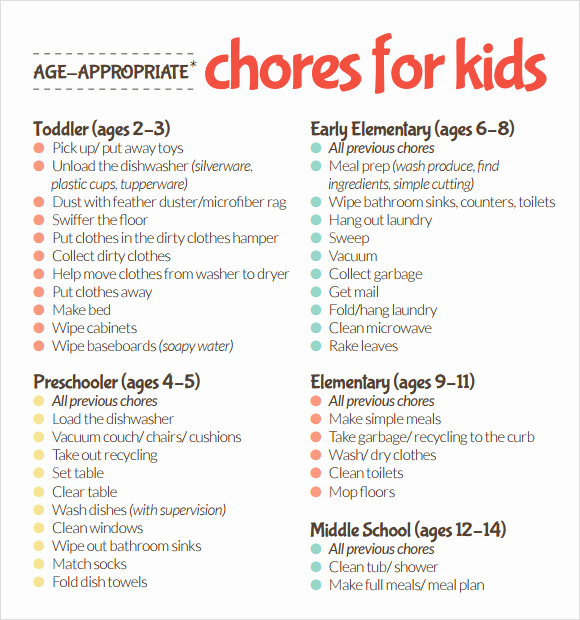 Kids Chore Chart Template Beautiful Sample Kids Chore Chart Template 8 Free Documents In