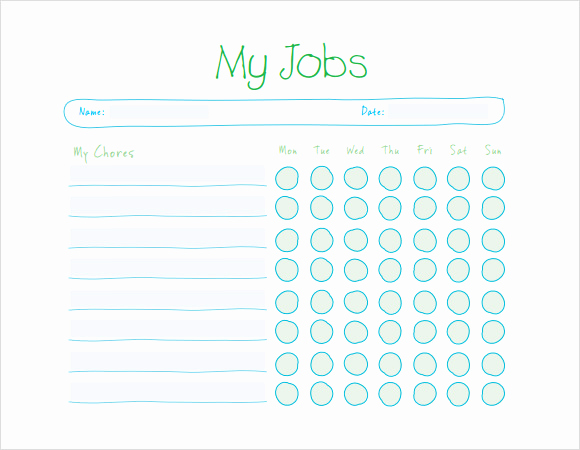 Kids Chore Chart Template Inspirational Sample Kids Chore Chart Template 8 Free Documents In